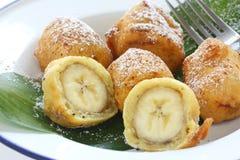 Gebratene Bananenstückchen, pisang goreng Stockfotografie