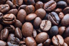Gebratene cofee Bohnen als Hintergrund Stockfotos
