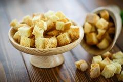Gebratene Croutons des selbst gemachten Brotes Stockbild