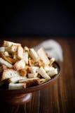 Gebratene Croutons des selbst gemachten Brotes Stockbilder