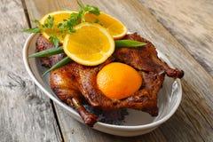 Gebratene Ente mit Orange Lizenzfreie Stockfotografie