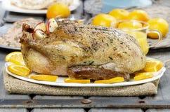 Gebratene Ente mit Orangen auf Holztisch Lizenzfreie Stockfotos