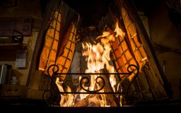Gebratene Fische auf brennendem Feuer lizenzfreies stockfoto