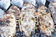 Gebratene Fische besprühen mit Salz Lizenzfreie Stockfotografie