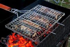 Gebratene Fische mit Kohlen im Freien stockfoto