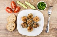 Gebratene Fleischklöschen in der Platte, Tomaten, Gurken, Frühlingszwiebel, brea Lizenzfreies Stockfoto