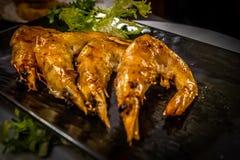 Gebratene Garnelen am japanischen Restaurant Lizenzfreie Stockfotos