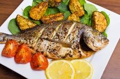 Gebratene gilthead Fische Stockfotos