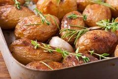 Gebratene Kartoffeln mit Knoblauch Stockbilder