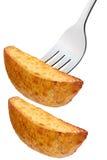 Gebratene Kartoffelscheibe auf Gabel, Wege Lizenzfreie Stockfotografie