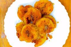 Gebratene Kuchenscheibe des klebrigen Reises, eine von besten Nahrungsmitteln Vietnams, Porridg Lizenzfreie Stockfotos