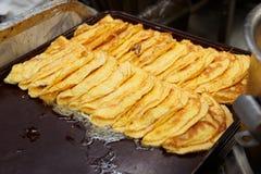 Gebratene Omelette für Fluglinienlebensmittelteile stockfotos