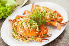 Gebratene rote Krabbe mit Zwiebel, Kopfsalat und Kräutern auf weißem Teller stockbild