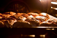 Gebratene Torten in den Ofen stockfoto