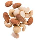 Gebratene und gesalzte Nüsse lokalisiert auf Weiß Lizenzfreies Stockbild