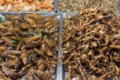 Gebratene verschiedene Arten der Insekten Stockbild