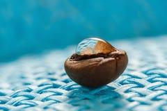 Gebratene, wohlriechende Kaffeebohnen Makro auf blauem Hintergrund Lizenzfreies Stockfoto