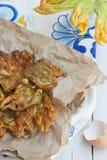 Gebratene Zucchiniblumen Stockfoto