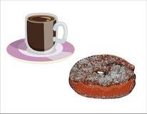 Gebratener Bonbon, Klipp und Tasse Kaffee lizenzfreie abbildung