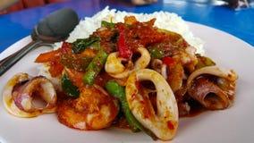 Gebratener Currykalmar und -garnele auf Reis Stockfotos