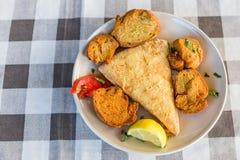 Gebratener Käse, Saganaki-Griecherezept Stockfotografie