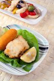 Gebratener Pfeiler und Rinforzo Salat Stockfotos