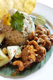 Gebratener Reis der asiatischen Art mit Hammelfleischcurry Stockfotos