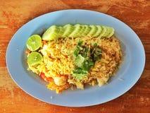Gebratener Reis der essbaren Meerestiere stockfoto