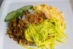 Gebratener Reis der Garnelenpaste stockbilder