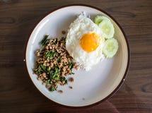 Gebratener Reis des Basilikums mit Schweinefleisch Lizenzfreie Stockfotos