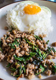 Gebratener Reis des Basilikums mit Schweinefleisch Lizenzfreies Stockbild