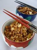 Gebratener Reis des Chinesen mit dem Pulver mit 5 Gewürzen Stockfotos