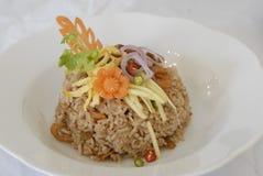 Gebratener Reis des gebratenen Reises der Garnelenpaste stockbild