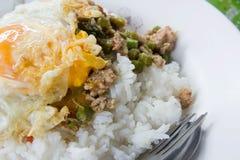 Gebratener Reis des Schweinefleisch mit populärem Lebensmittel des Basilikums von Thailand Stockfotografie