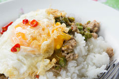 Gebratener Reis des Schweinefleisch mit populärem Lebensmittel des Basilikums von Thailand Stockbild