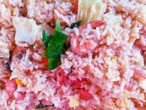 Gebratener Reis des thailändischen Lebensmittels mit Garnelenabschluß oben lizenzfreies stockfoto