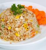 Gebratener Reis eine Reihe von neun asiatischen Lebensmitteltellern Lizenzfreie Stockbilder