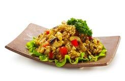 Gebratener Reis mit der Hühnchen-Brust Stockfotos