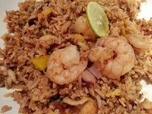Gebratener Reis mit essbaren Meerestieren Lizenzfreies Stockfoto