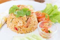 Gebratener Reis mit Garnele Stockfoto