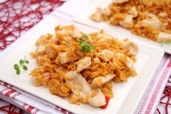 Gebratener Reis mit Huhn lizenzfreie stockfotos