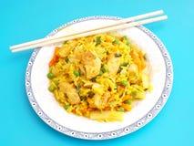 Gebratener Reis mit Huhn stockbild