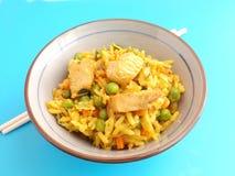 Gebratener Reis mit Huhn stockfoto