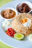 Gebratener Reis mit Paprikabad, Schweinefleisch und Salz egg Lizenzfreie Stockfotografie