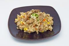 Gebratener Reis mit Schweinefleisch und Gemüse stockfotos