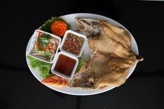 Gebratener Rotbarsch mit Fischsauce lizenzfreies stockbild