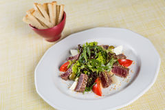 Gebratener Thunfisch mit gegrilltem Gemüse Lizenzfreies Stockbild