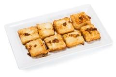 Gebratener Tofu das Nahrungsmittel von der Sojabohne proteinreich Stockfotografie