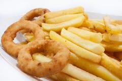 Gebratener Zwiebelring mit Pommes-Frites in der Platte lizenzfreie stockbilder