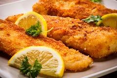 Gebratenes Fischfilet Stockfoto
